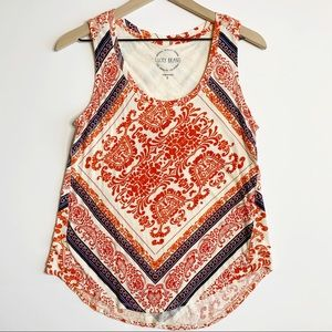 Lucky Brand Scroll Print Knit Tank Top Size Small